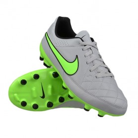 SCARPE NIKE TIEMPO GENIO LEATHER FG JUNIOR - GRIGIO/VERDE
